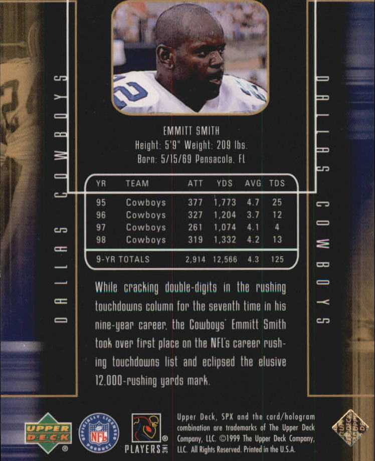 1999 SPx Prolifics #P12 Emmitt Smith back image
