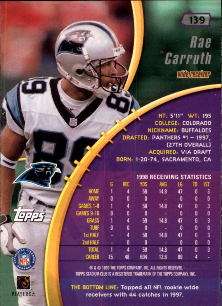 1999 Stadium Club #139 Rae Carruth back image