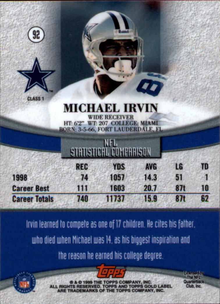 1999 Topps Gold Label Class 1 #92 Michael Irvin back image