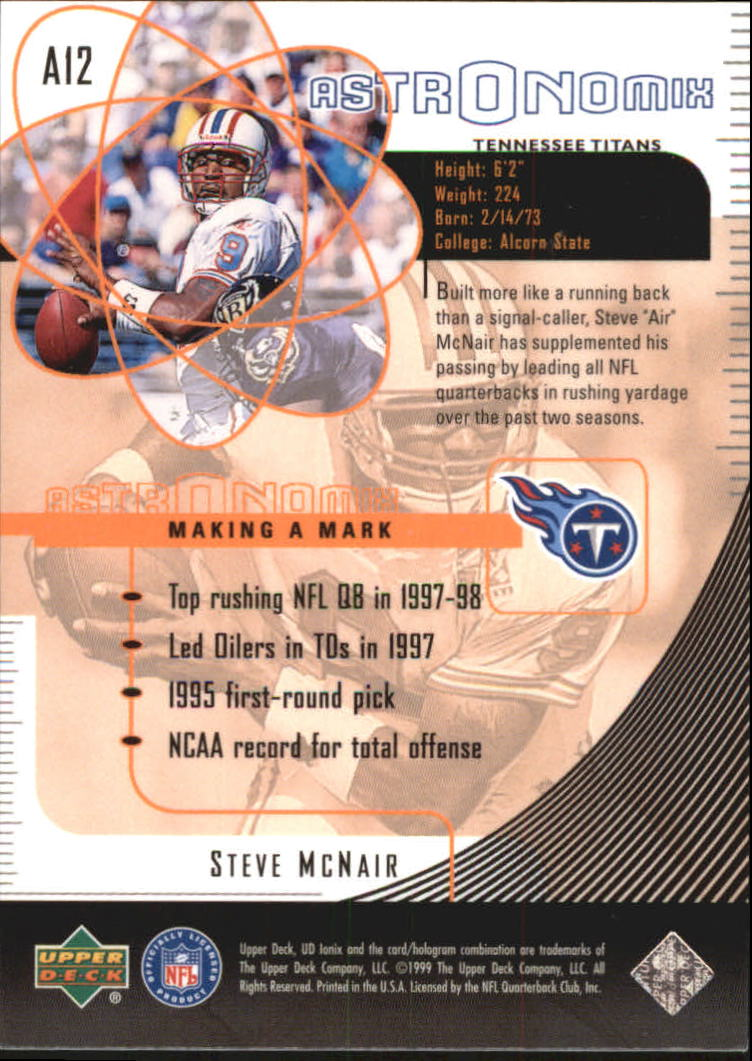 1999 UD Ionix Astronomix #A12 Steve McNair back image