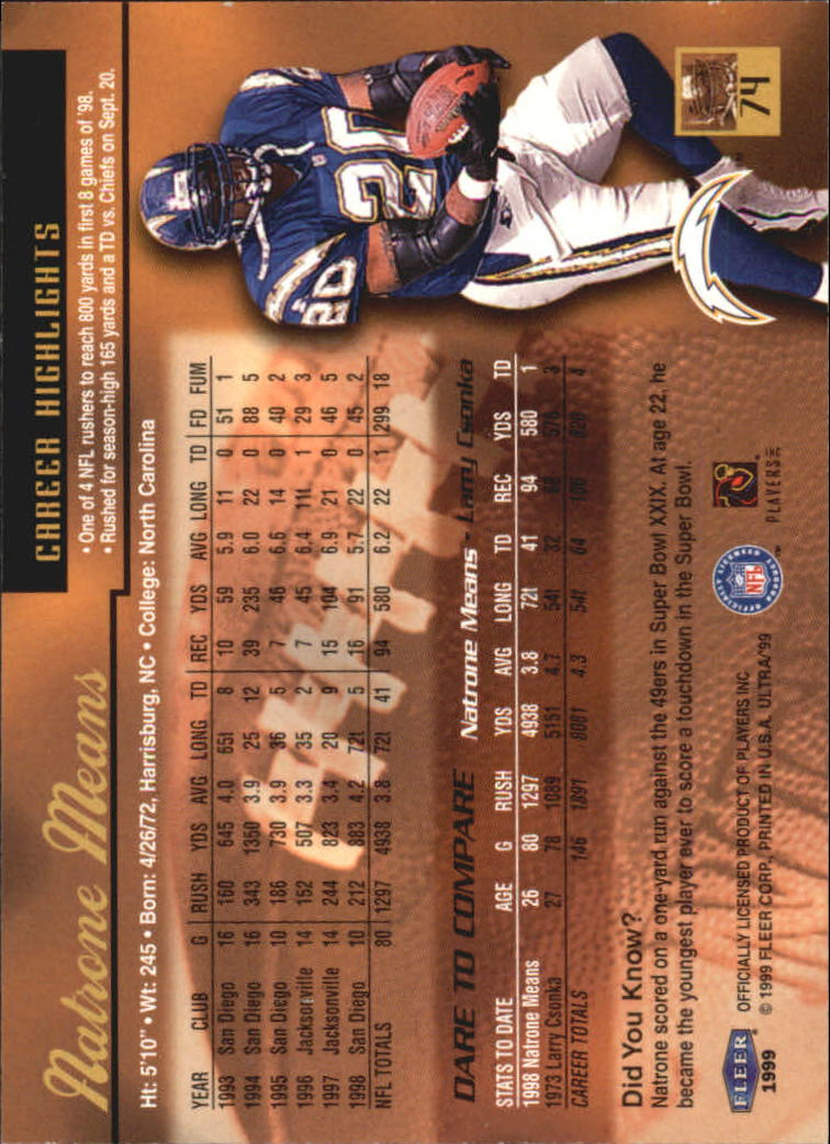 1999 Ultra #74 Natrone Means back image