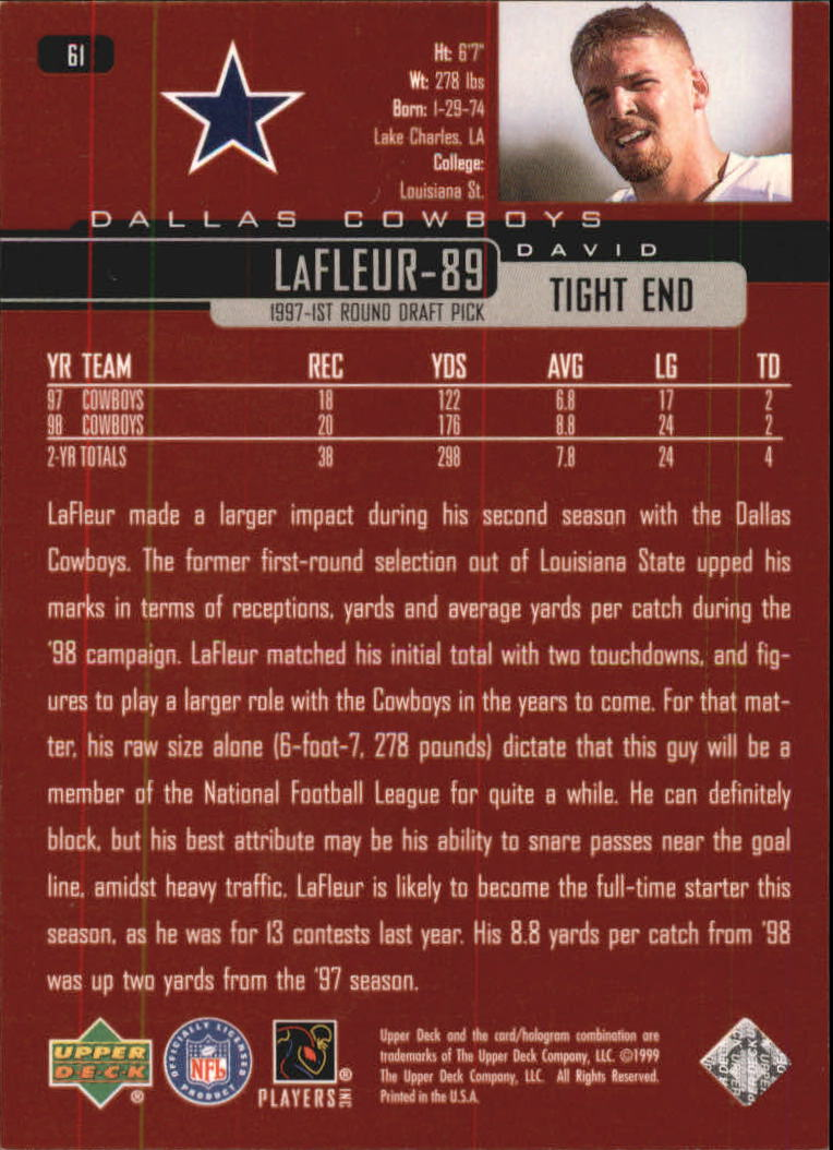 1999 Upper Deck Exclusives 100 #61 David LaFleur back image