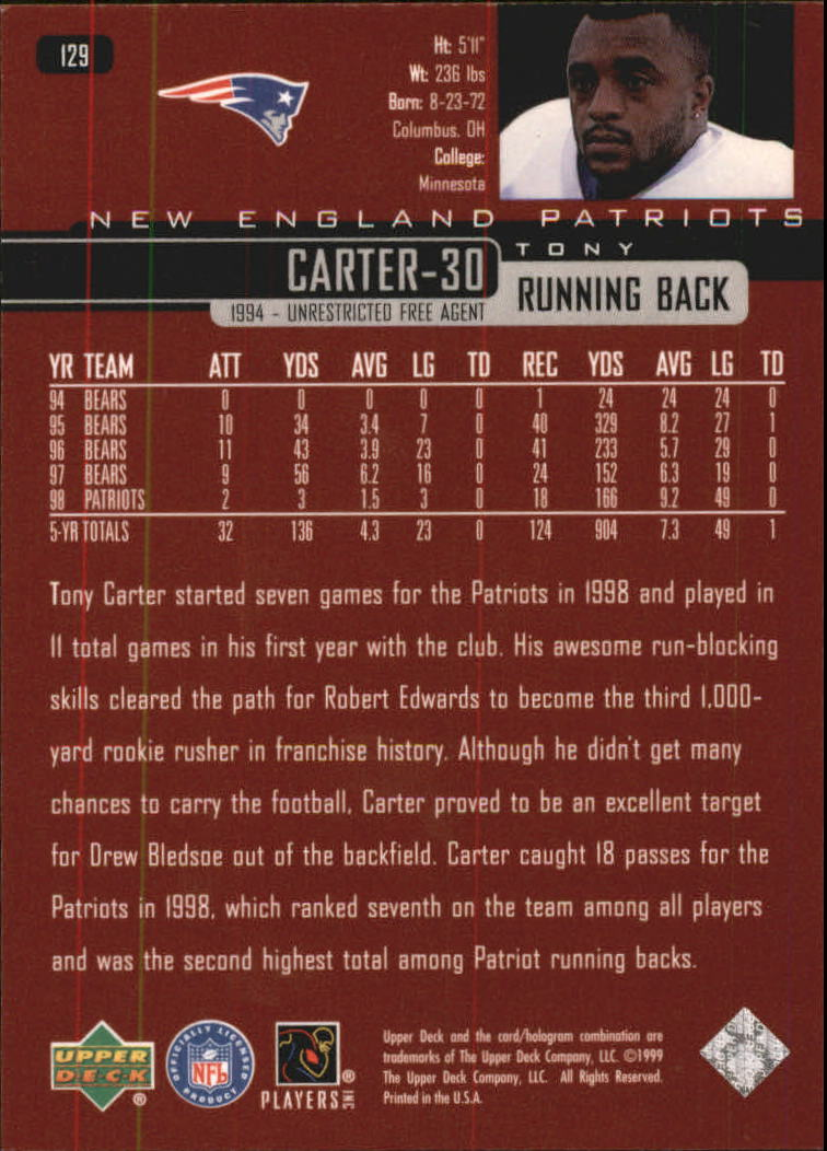 1999 Upper Deck Exclusives 100 #129 Tony Carter back image