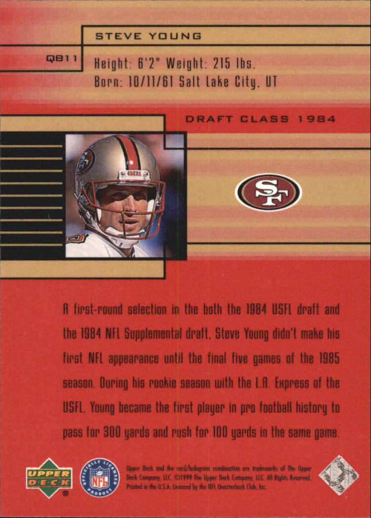 1999 Upper Deck Quarterback Class #QC11 Steve Young back image