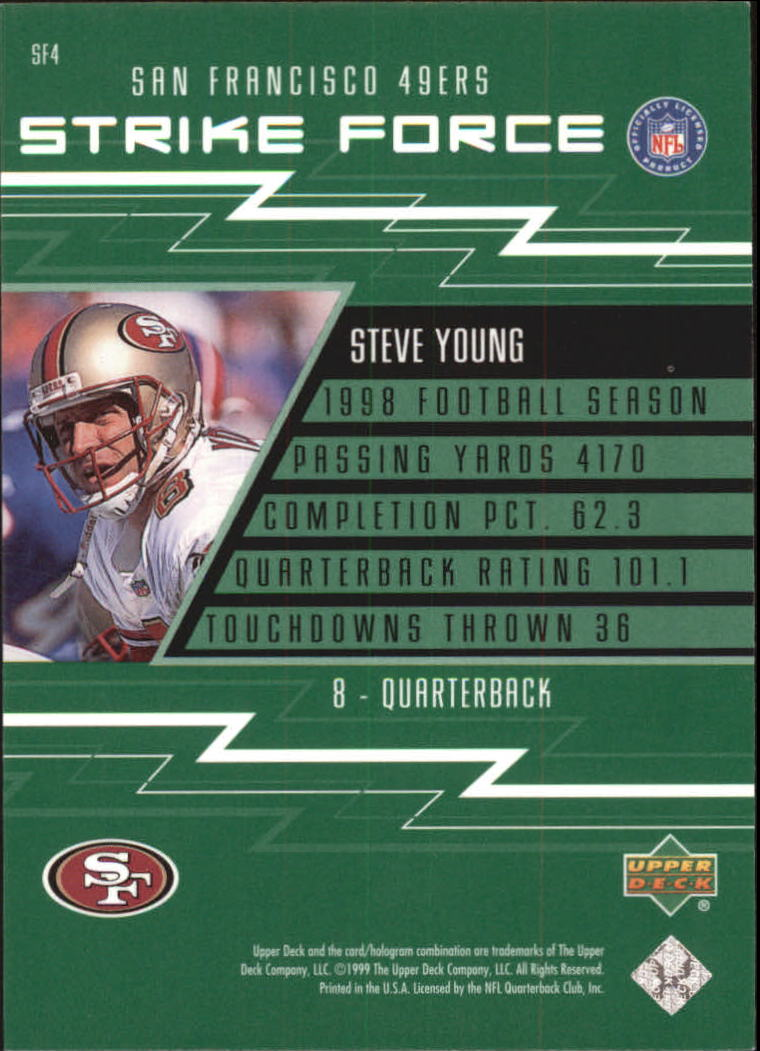 1999 Upper Deck Strike Force #SF4 Steve Young back image