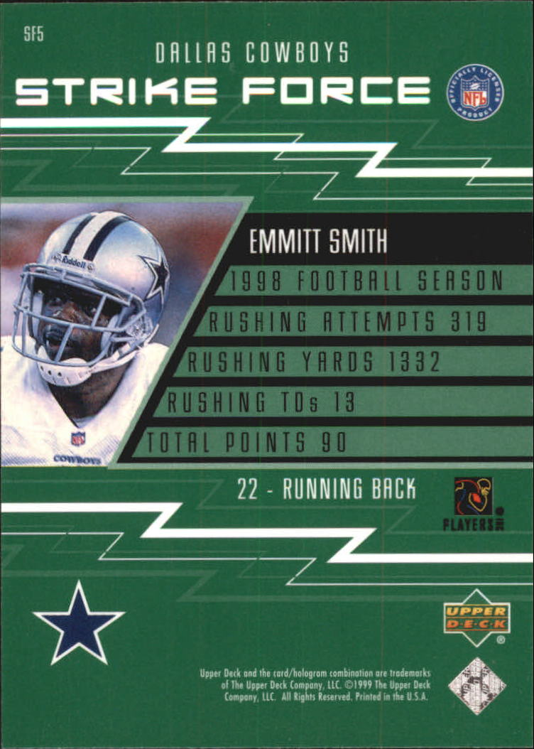 1999 Upper Deck Strike Force #SF5 Emmitt Smith back image