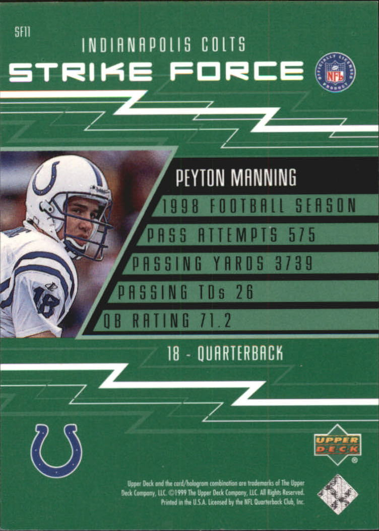 1999 Upper Deck Strike Force #SF11 Peyton Manning back image
