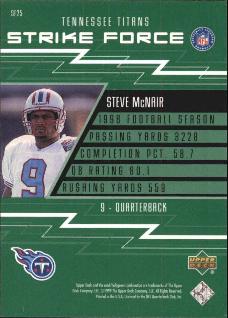 1999 Upper Deck Strike Force #SF25 Steve McNair back image