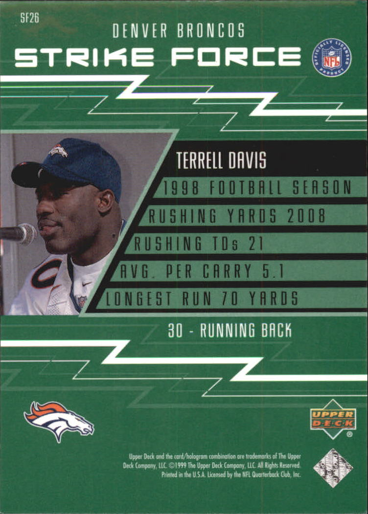1999 Upper Deck Strike Force #SF26 Terrell Davis back image
