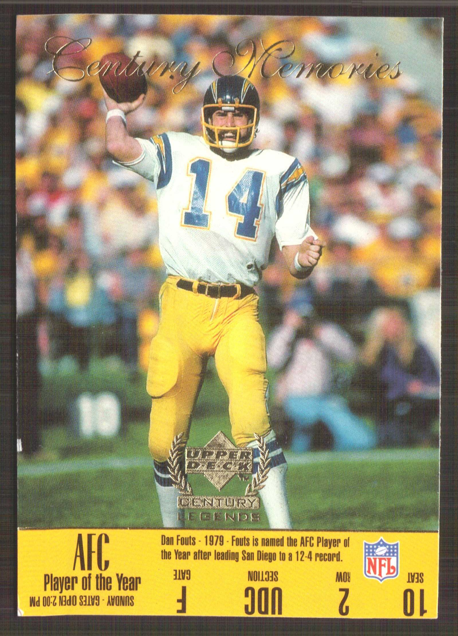 1999 Upper Deck Century Legends #180 Dan Fouts CM