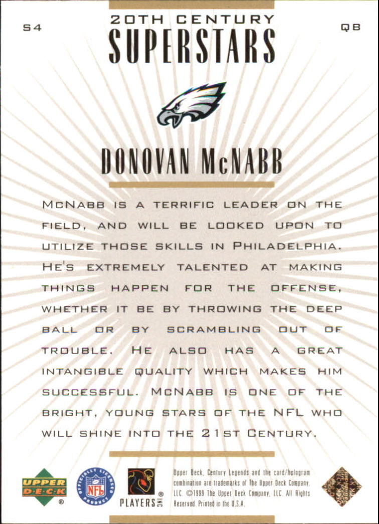 1999 Upper Deck Century Legends 20th Century Superstars #S4 Donovan McNabb back image
