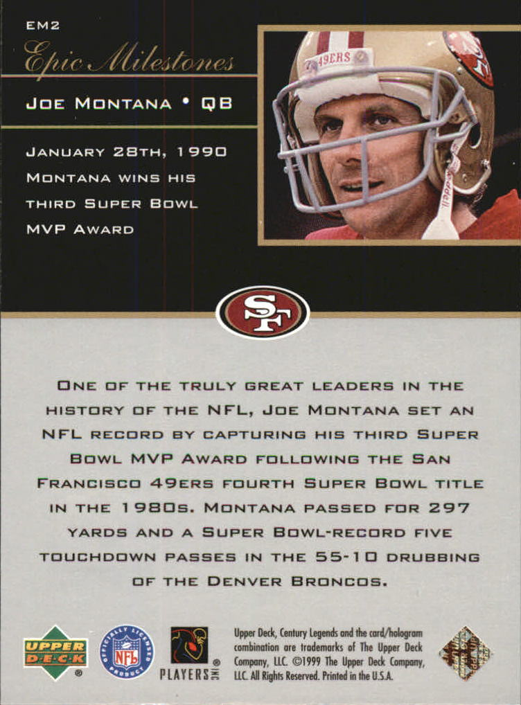 1999 Upper Deck Century Legends Epic Milestones #EM2 Joe Montana back image