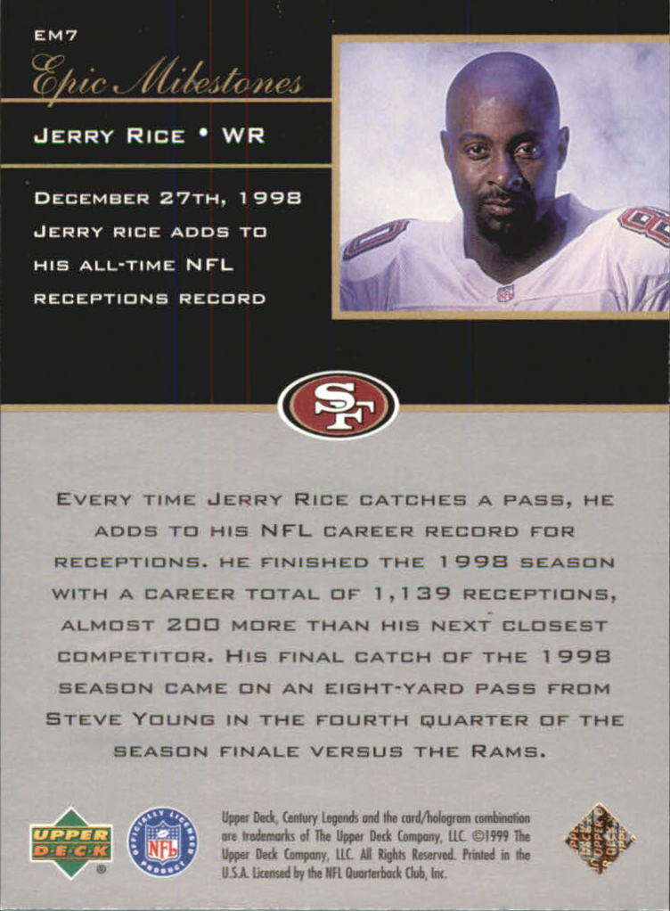1999 Upper Deck Century Legends Epic Milestones #EM7 Jerry Rice back image