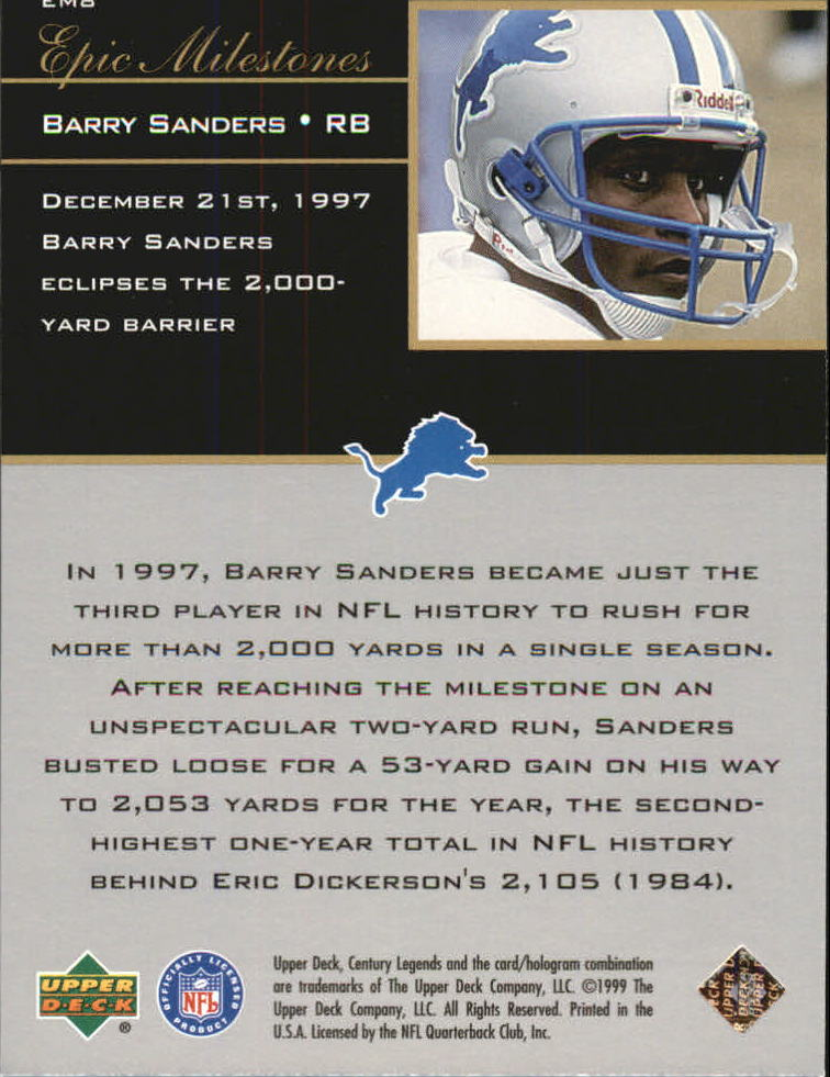 1999 Upper Deck Century Legends Epic Milestones #EM8 Barry Sanders back image