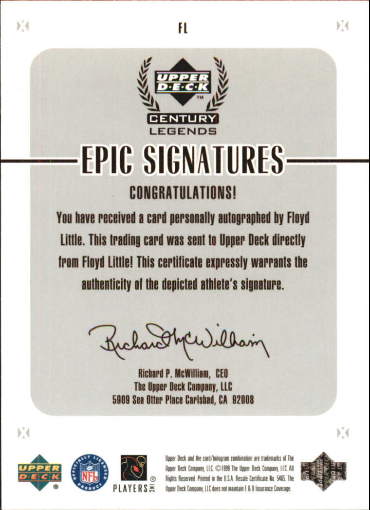 1999 Upper Deck Century Legends Epic Signatures #FL Floyd Little back image