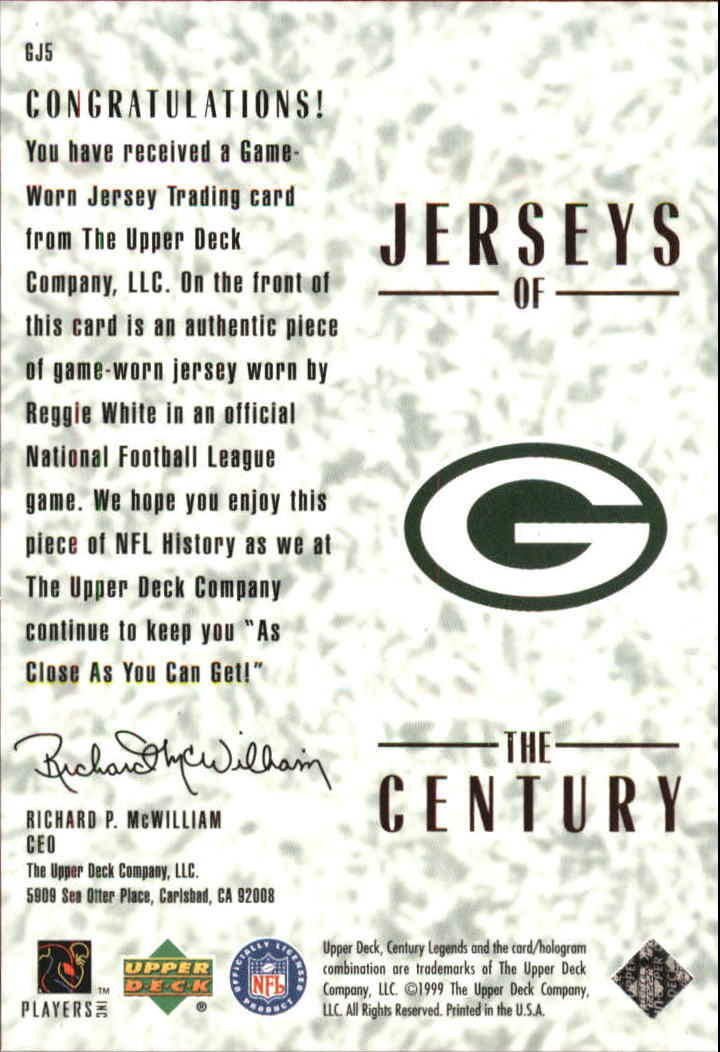 1999 Upper Deck Century Legends Jerseys of the Century #GJ5 Reggie White back image