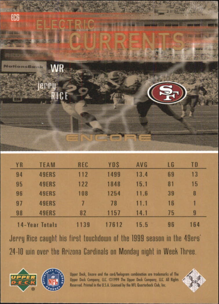 1999 Upper Deck Encore Electric Currents #EC6 Jerry Rice back image