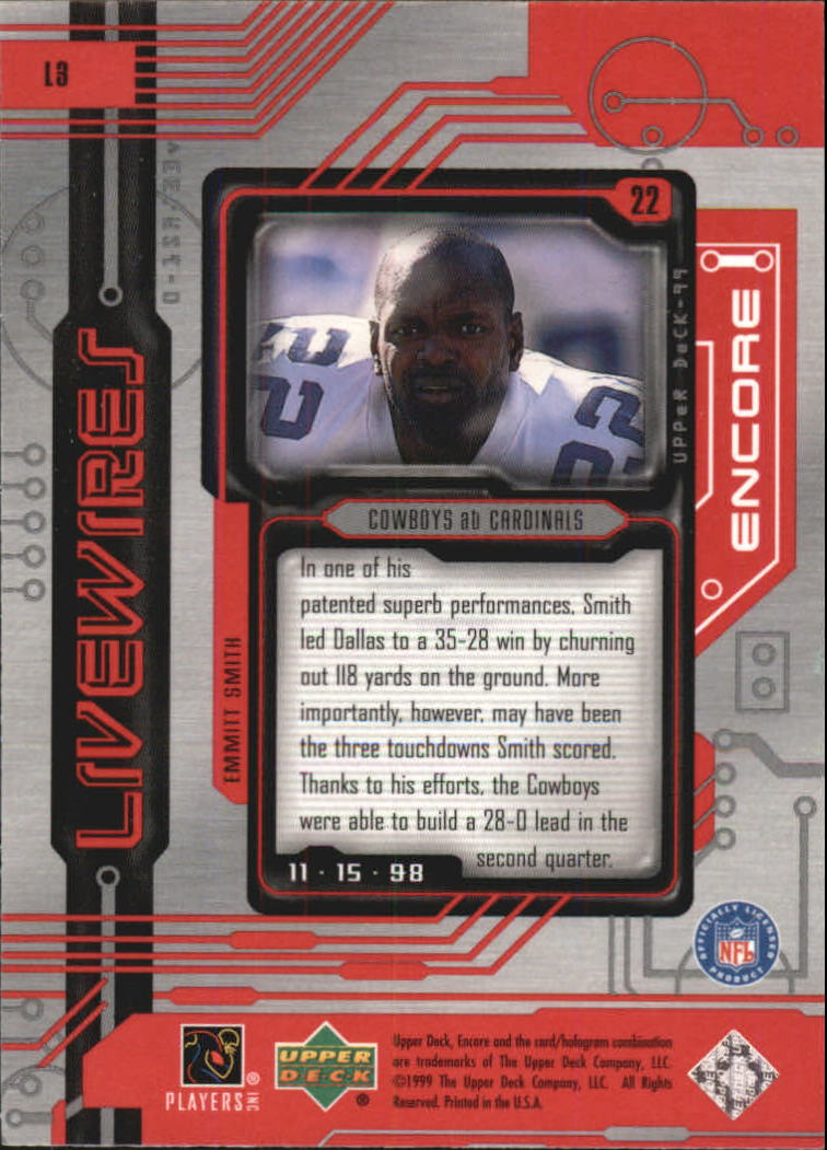 1999 Upper Deck Encore Live Wires #L3 Emmitt Smith back image