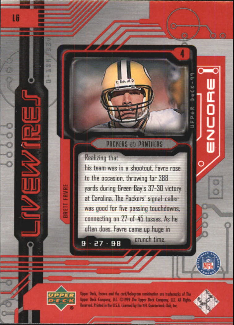 1999 Upper Deck Encore Live Wires #L6 Brett Favre back image