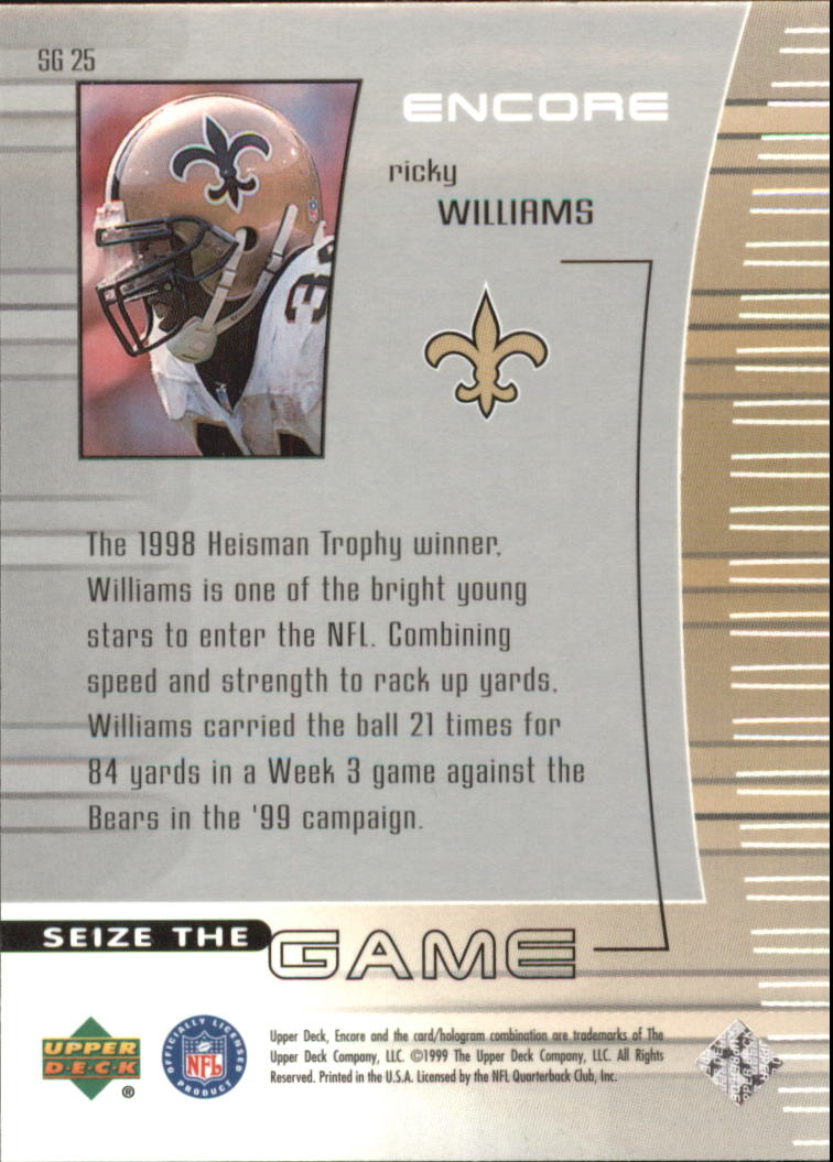1999 Upper Deck Encore Seize the Game #SG25 Ricky Williams back image
