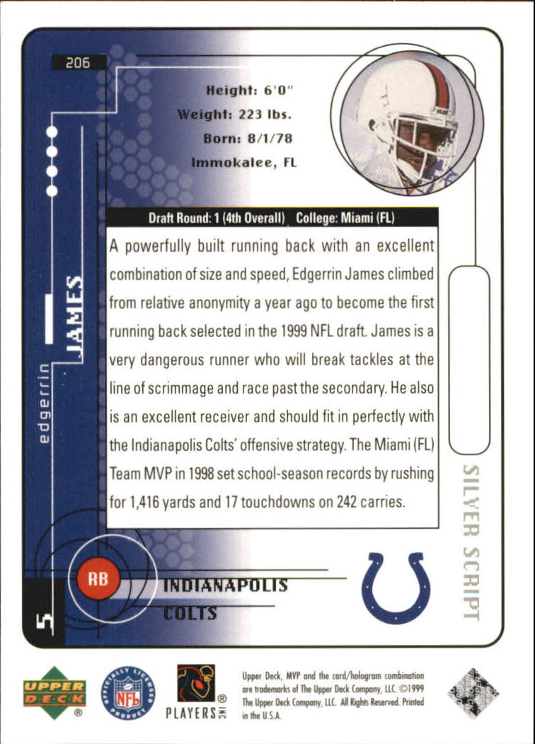 1999 Upper Deck MVP Silver Script #206 Edgerrin James