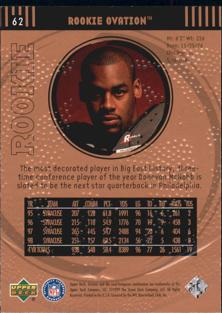 1999 Upper Deck Ovation #62 Donovan McNabb RC back image