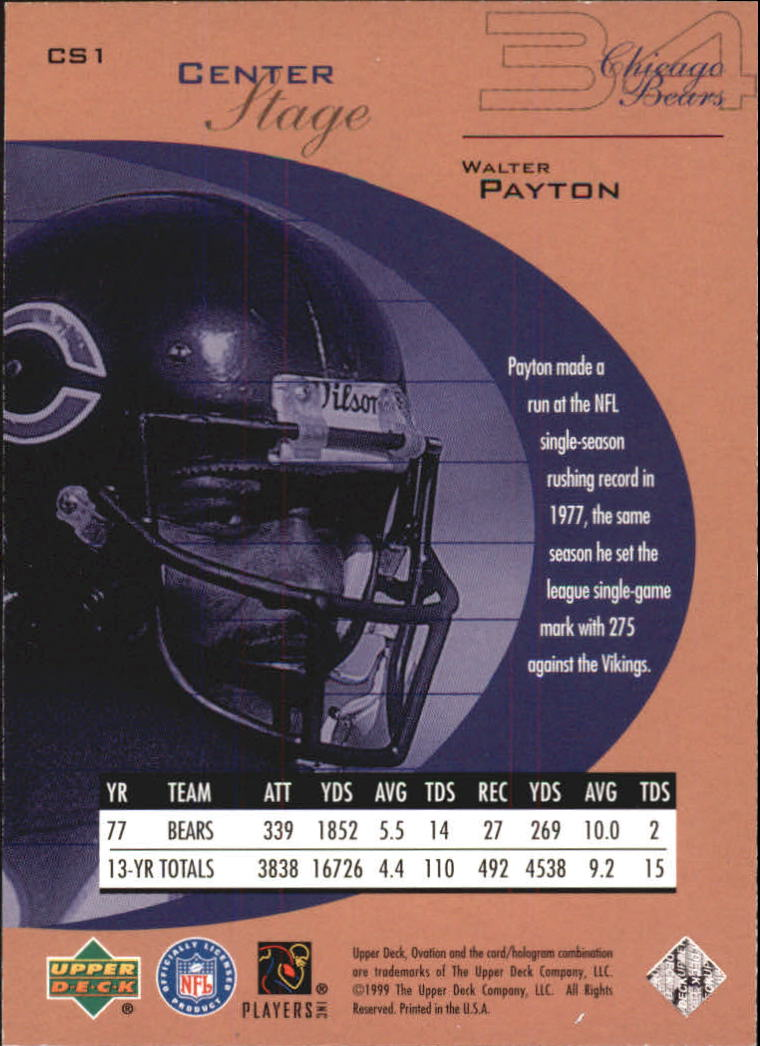 1999 Upper Deck Ovation Center Stage #CS1 Walter Payton back image