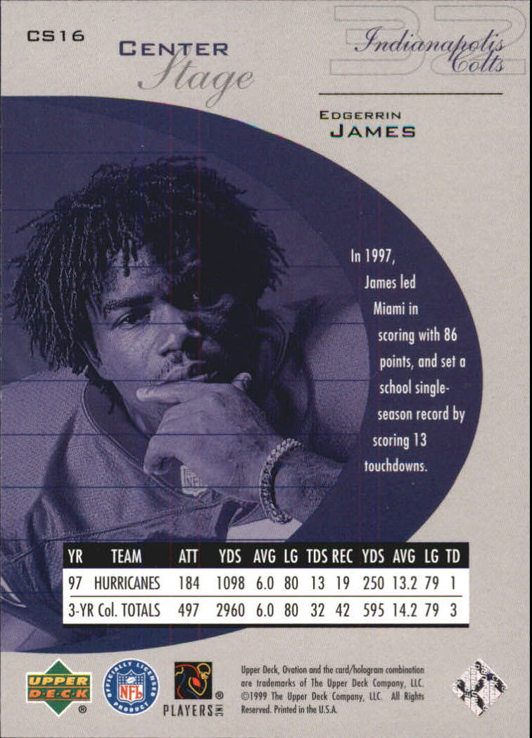 1999 Upper Deck Ovation Center Stage #CS16 Edgerrin James back image