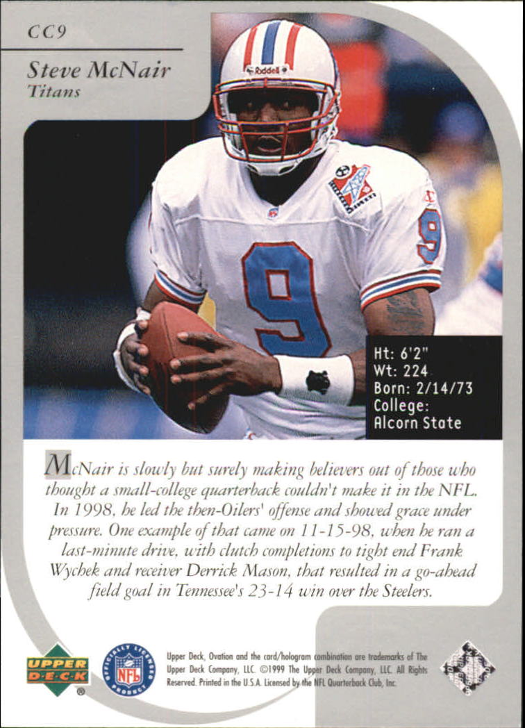 1999 Upper Deck Ovation Curtain Calls #CC9 Steve McNair back image