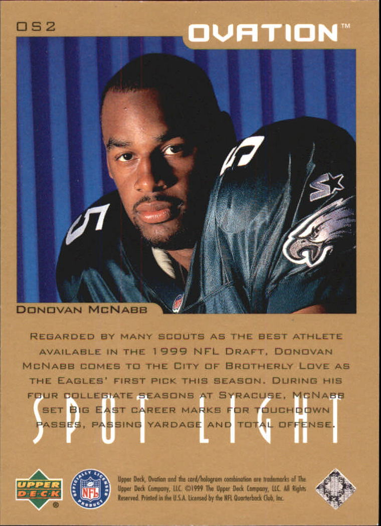 1999 Upper Deck Ovation Spotlight #OS2 Donovan McNabb back image