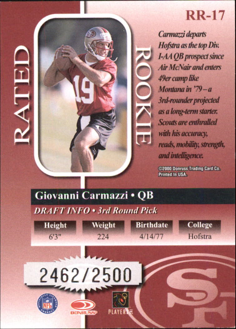 2000 Donruss Rated Rookies #17 Giovanni Carmazzi back image