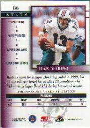 2000 Donruss Preferred #86 Dan Marino PS back image