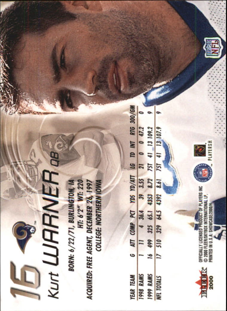 2000 Fleer Showcase #16 Kurt Warner back image