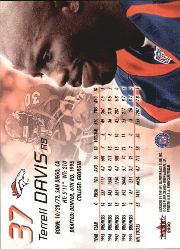 2000 Fleer Showcase #37 Terrell Davis back image