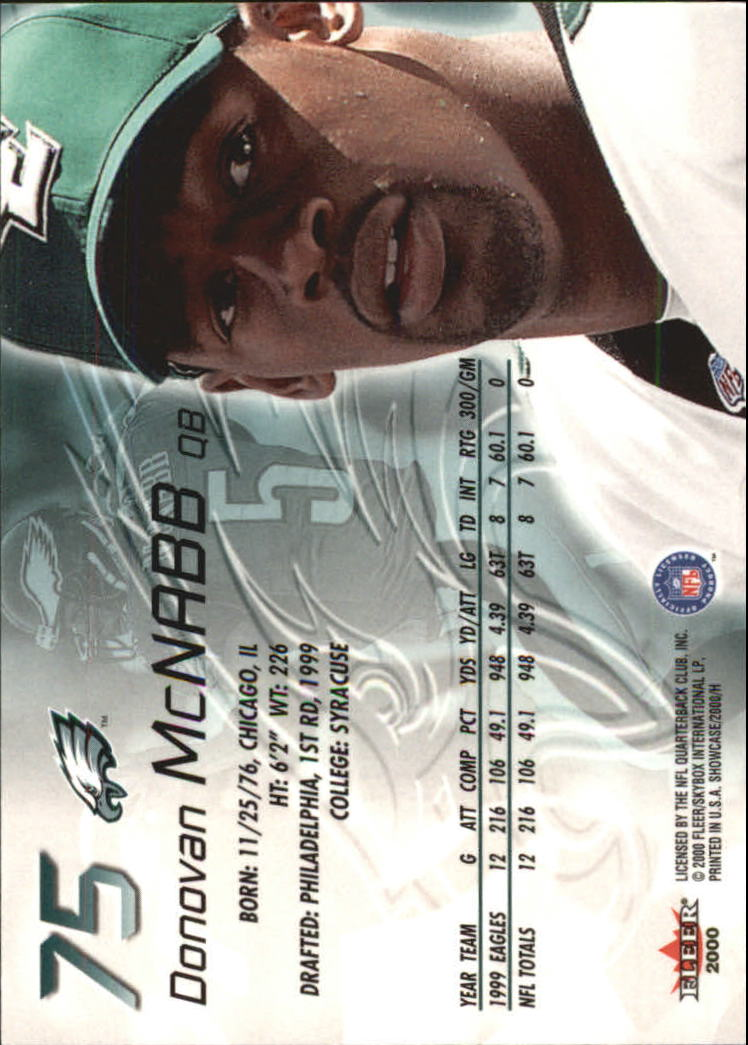 2000 Fleer Showcase #75 Donovan McNabb back image