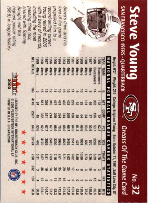 2000 Greats of the Game #32 Steve Young back image