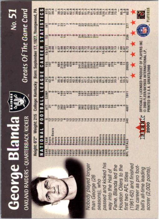 2000 Greats of the Game #51 George Blanda back image