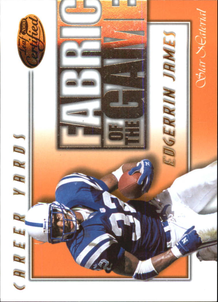 2000 Leaf Certified Fabric of the Game #FG63 Edgerrin James/750