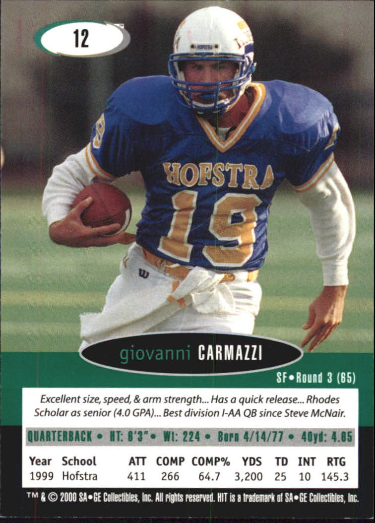2000 SAGE HIT #12 Giovanni Carmazzi back image