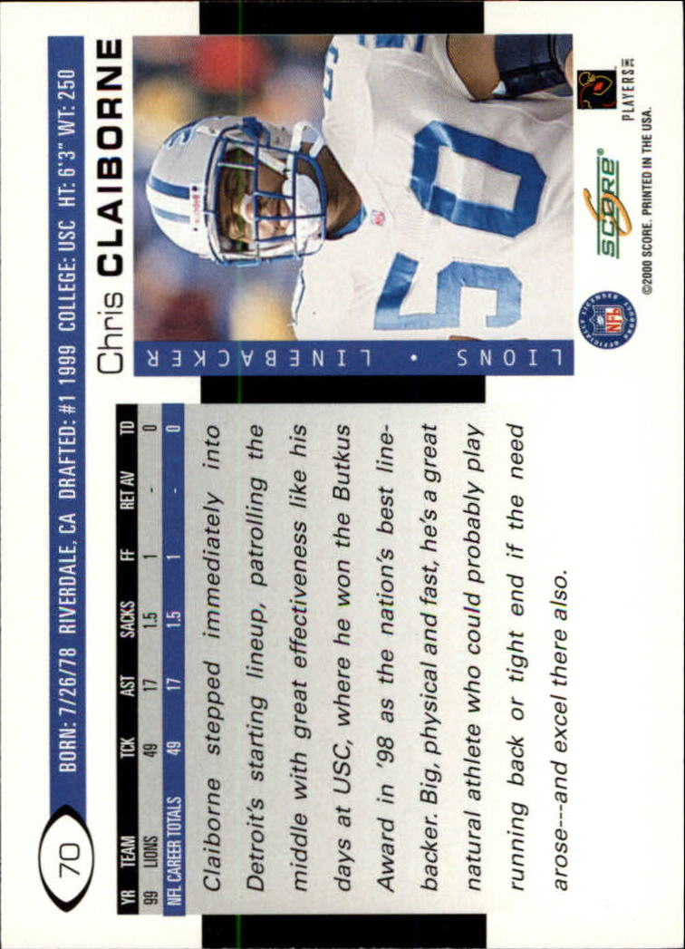 2000 Score #70 Chris Claiborne back image