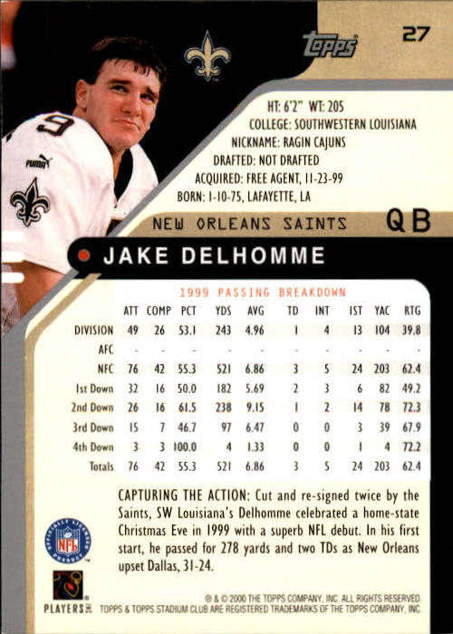 2000 Stadium Club #27 Jake Delhomme RC back image