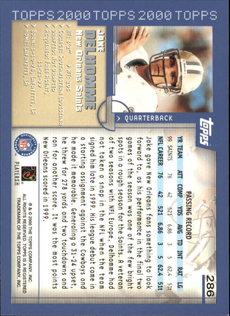 2000 Topps #286 Jake Delhomme RC back image