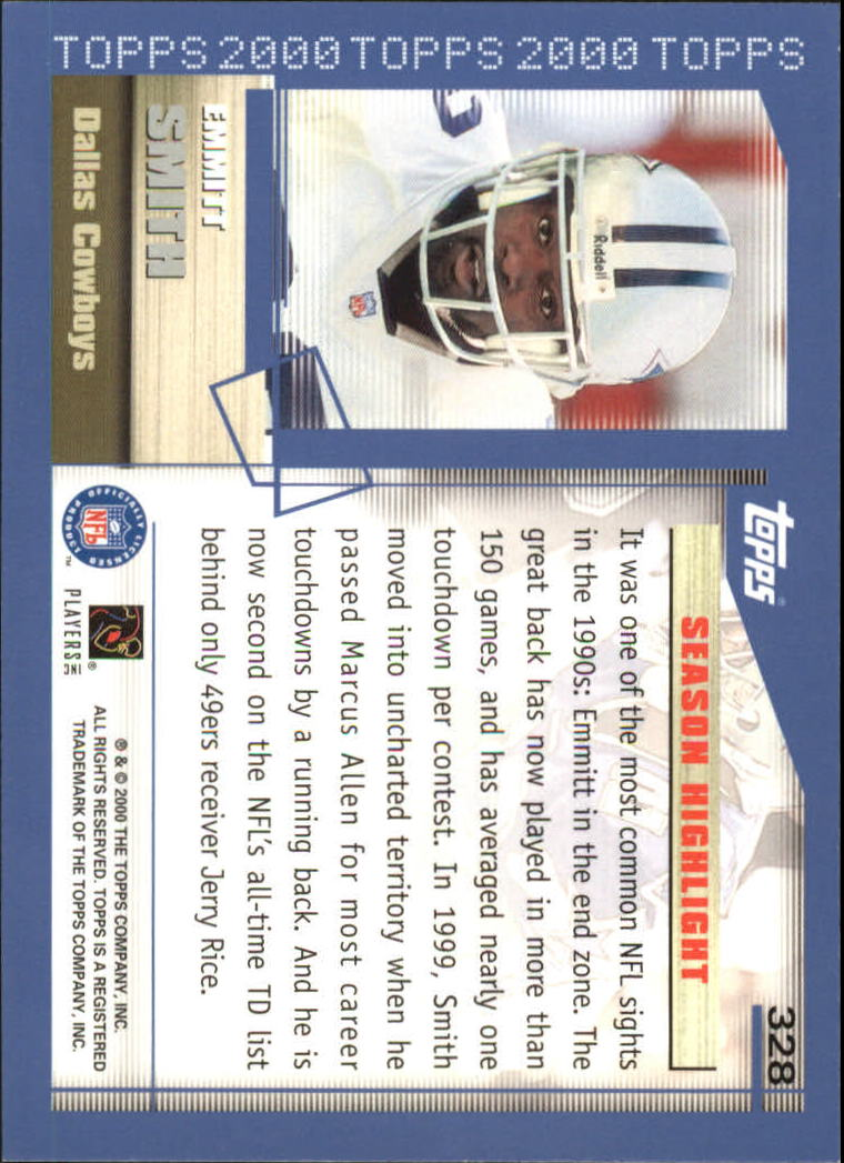 2000 Topps #328 Emmitt Smith HL back image