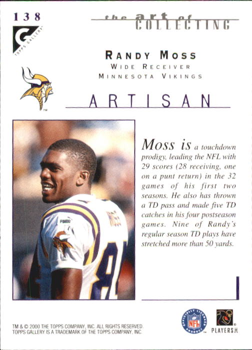 2000 Topps Gallery #138 Randy Moss ART back image
