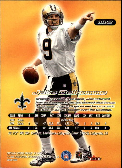 2000 Ultra #112 Jake Delhomme RC back image