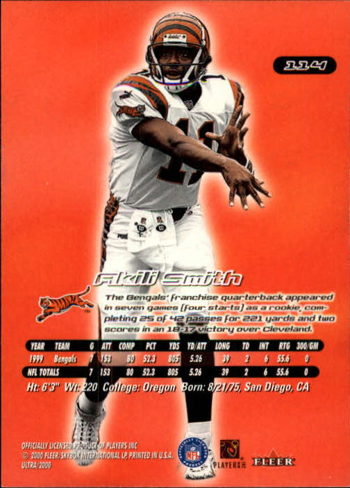 2000 Ultra #114 Akili Smith back image
