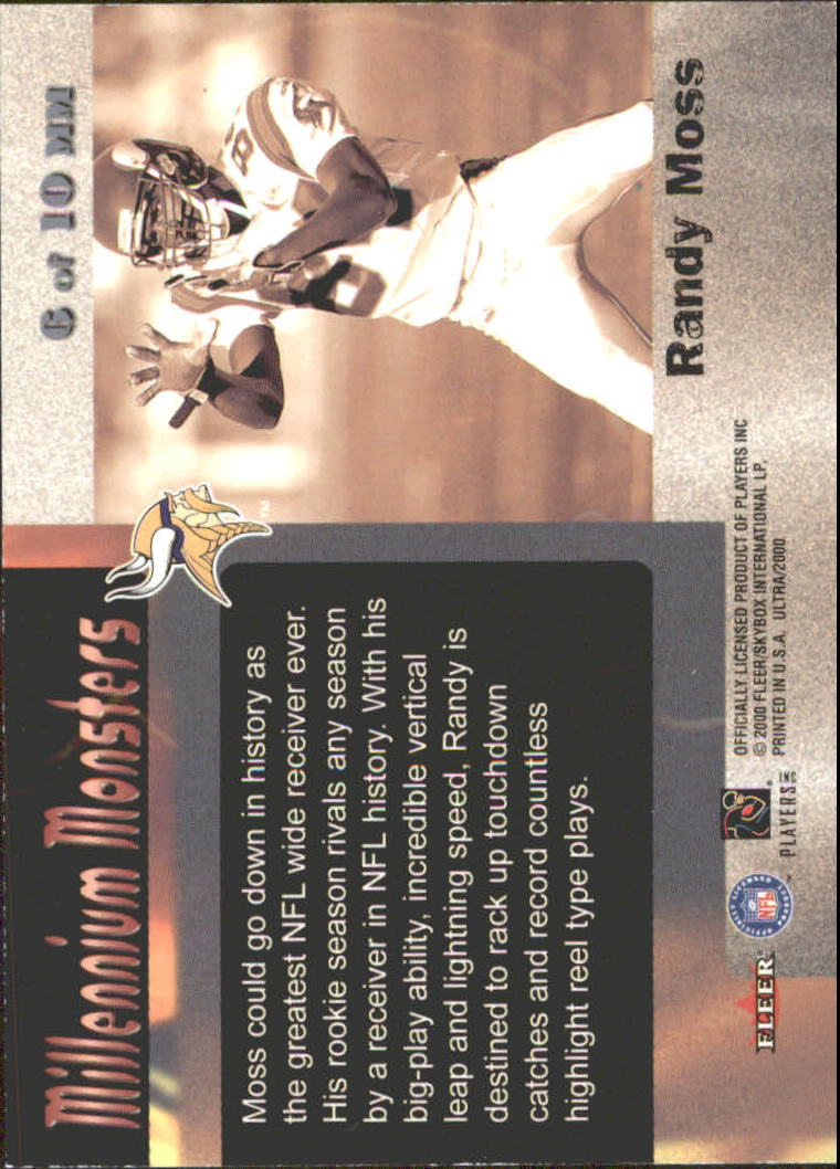 2000 Ultra Millennium Monsters #6 Randy Moss back image