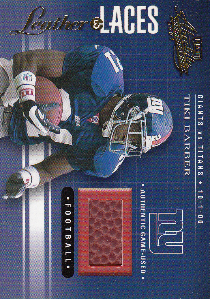 2001 Absolute Memorabilia Leather and Laces #LL5 Tiki Barber