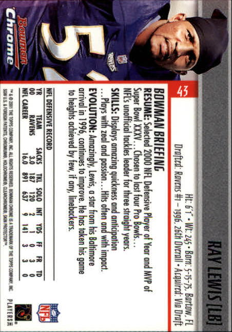 2001 Bowman Chrome #43 Ray Lewis back image