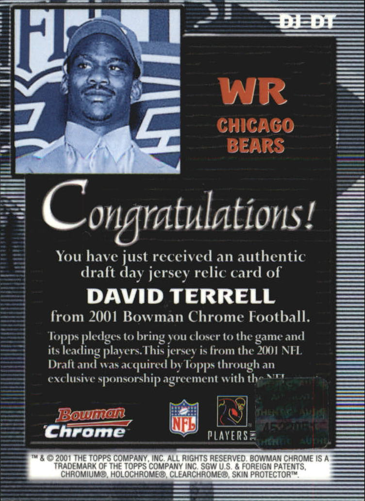 2001 Bowman Chrome Draft Day Relics #DHDT David Terrell Cap